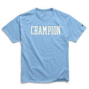 Champion blue block letter t shirt